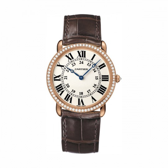 RELOJ RONDE LOUIS CARTIER WR000651 36 MM, ORO ROSA, PIEL, DIAMANTES