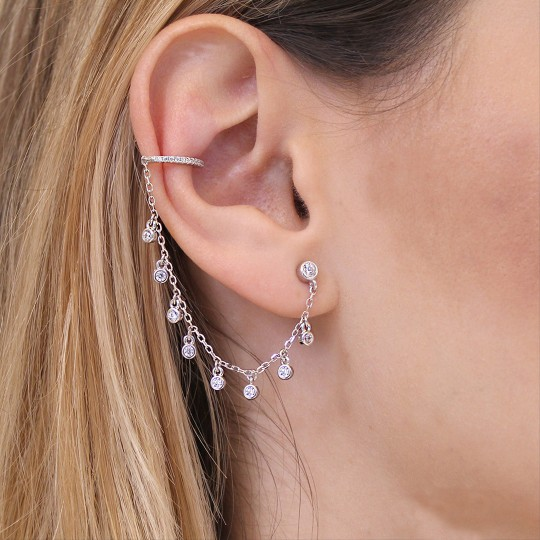 DOUBLE EARRING WITH SILVER CHAIN WITH ZIRCONS