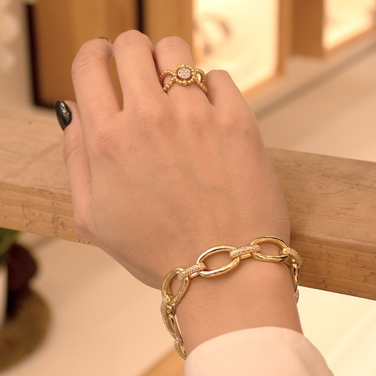 GOLD-PLATED SILVER CHAIN AND ZIRCONIA BRACELET