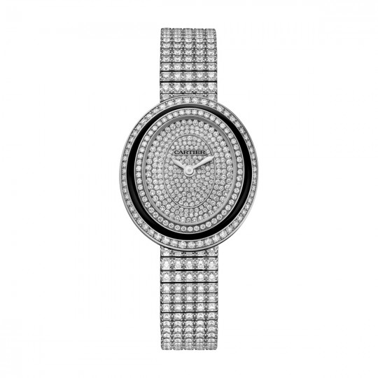 HYPNOSE WATCH HPI01049 MEDIUM MODEL, RHODIUM-FINISH 18K WHITE GOLD, BLACK LACQUER, DIAMONDS