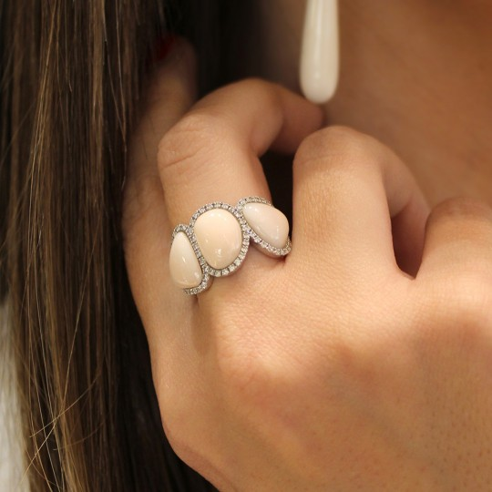 ANGEL SKIN CORAL RING AND RHINESTONES