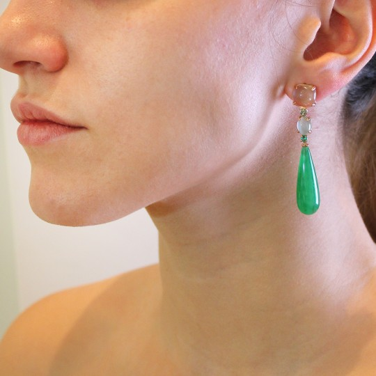 LONG UNEVEN TEARDROP EARRINGS