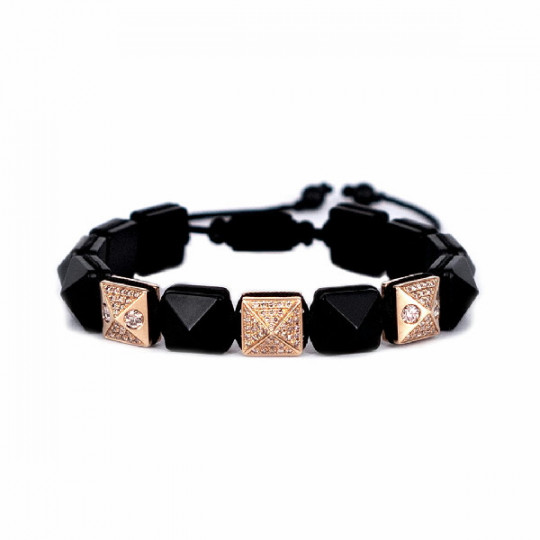 BRACELET ONYX & DIAMONDS