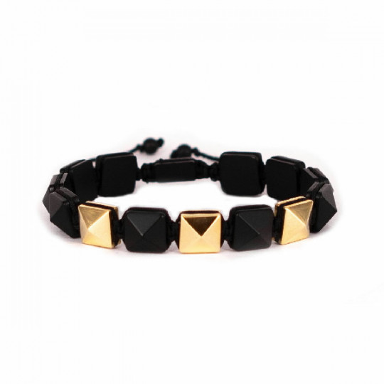 YELLOW GOLD AND ONYX BRACELET