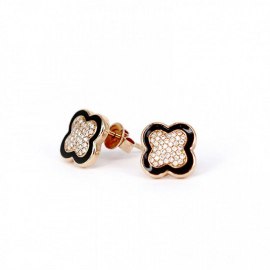 ROSE GOLD EARRINGS  WITH DIAMONDS AND ÓNIX