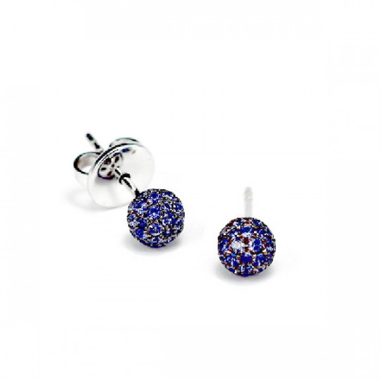 EARRINGS, WHITE GOLD WITH SAPPHIRES