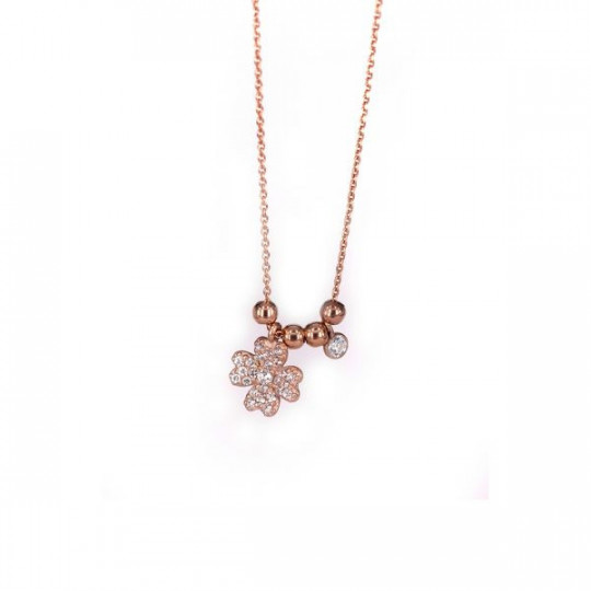 ROSÉ SILVER NECKLACE WITH CIRCONITES CLOVER