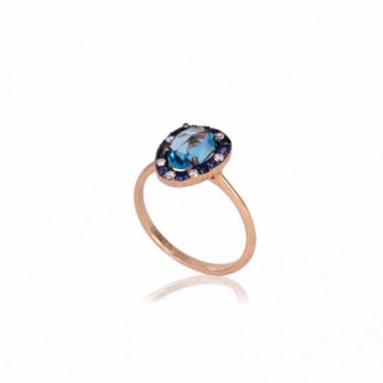 RING, TOPAZ, DIAMONDS AND SAPPHIRES