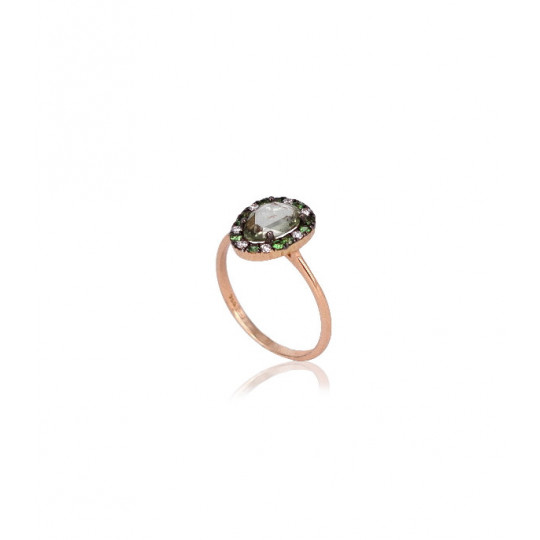 RING ROSE GOLD, GARNET GREEN AND SHINY