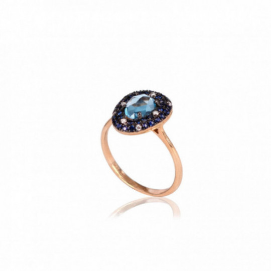 RING WITH BRIGHT BLUE TOPAZ AND SAPPHIRE